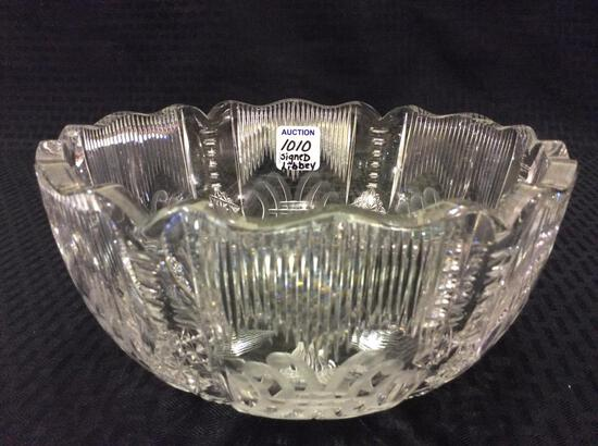 Signed Libbey (In Center of Bowl) Cut Glass Bowl