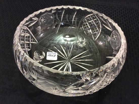 Three Footed Etched Glass Bowl