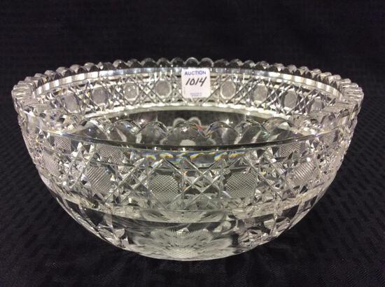Floral Etched Cut Glass Bowl