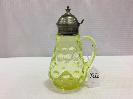 Vaseline Glass Syrup-1883 (7 Inches Tall)