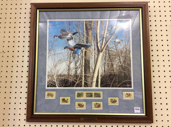 Framed Tight Quarters Duck Print & Stamps by David