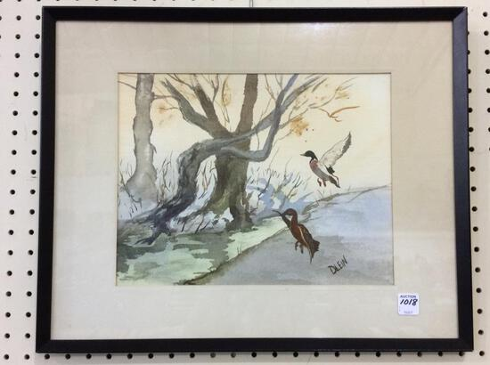 Framed Duck Watercolor Signed Dlein