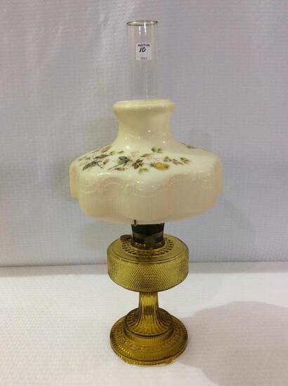 Aladdin Amber Glass Kerosene Lamp w/