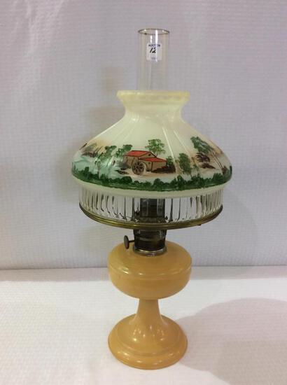Aladdin Peach Color Kerosene Lamp w/ Chimney