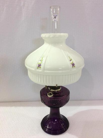 Aladdin Amethyst Kerosene Lamp w/