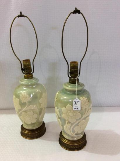 Matched Pair of Aladdin Alacite Green & White