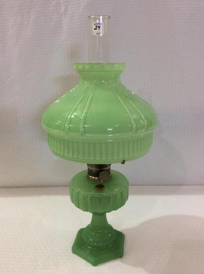 Aladdin Green Jadite Color Kerosene Lamp w/