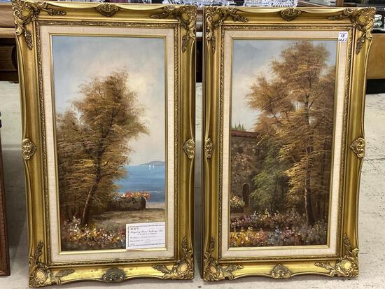 Lot of 2 Framed Paintings From Regency