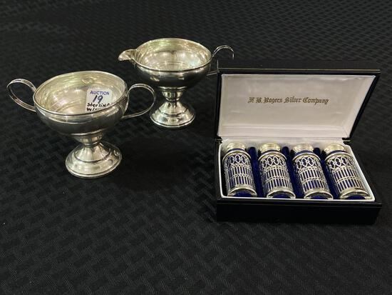 Group w/ Sterling Silver Creamer & Sugar