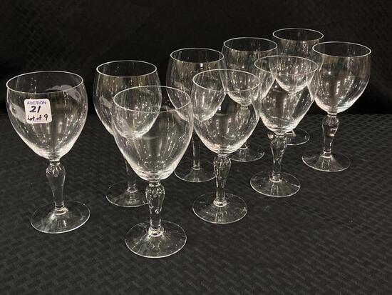 Lot of 9 Fine Glassware Stemware Wines