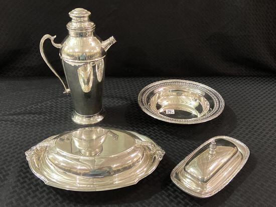 Lot of 4 Silver Serving Pieces Including Reed &