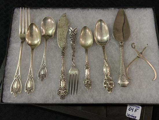 Set of 9 Ornate Sterling Silver Pieces Including