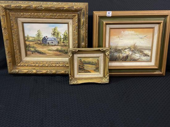 Lot of 3 Framed Paintings Including