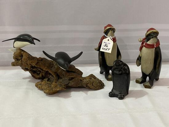Lot of 4 Including 3 Wood Penguins (Approx.