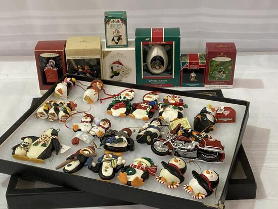 Collection of Various Penguin Ornaments Including