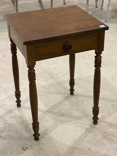 Wood One Drawer Square Lamp Table