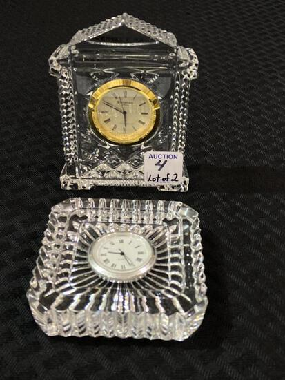 Lot of 2 Sm. Waterford Crystal Bedroom Clocks