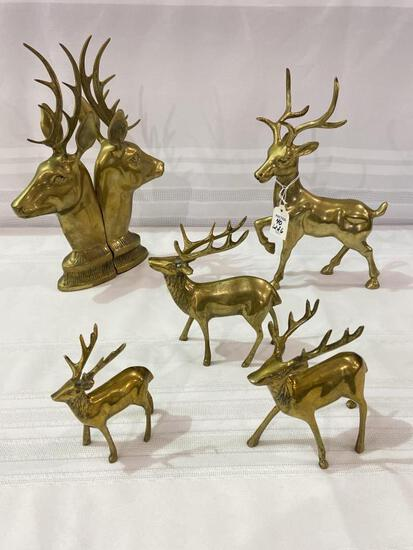 Group of Brass Deer  Including Pair of Bookends &
