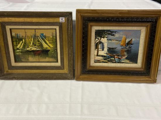 Lot of 2 Framed Boat/Ship Paintings Including