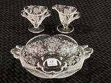 Lot of 3 Etched Glass Fostoria Including Sm. Dish