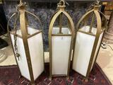 Lot of 3 Lg. Vintage Hanging Light Fixtures-