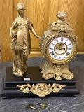 Antique Keywind Statue Clock on Ornate Base