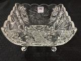 Four Footed 8 Inch Square Glass Bowl