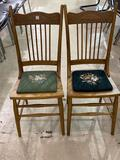 Lot of 2 Matching Pressed Back Chairs w/