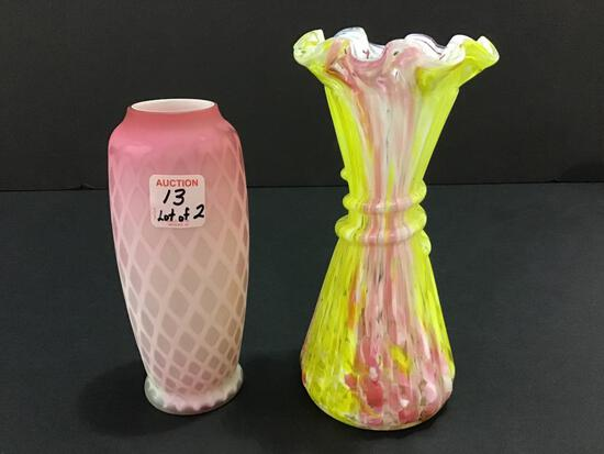 Lot of 2 Including Ruffled Edge Art Glass Vase
