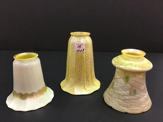 Lot of 3 Art Glass Lamp Shades Including