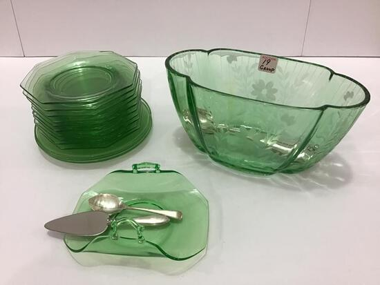 Group of Green Depression Glass Including Etched