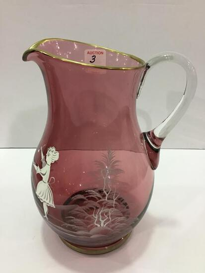 Cranberry Mary Gregory Glass Pitcher