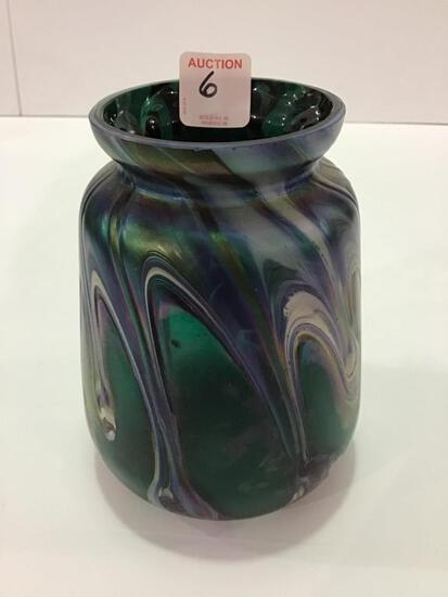 Unknown Art Glass Vase (6 Inches Tall)