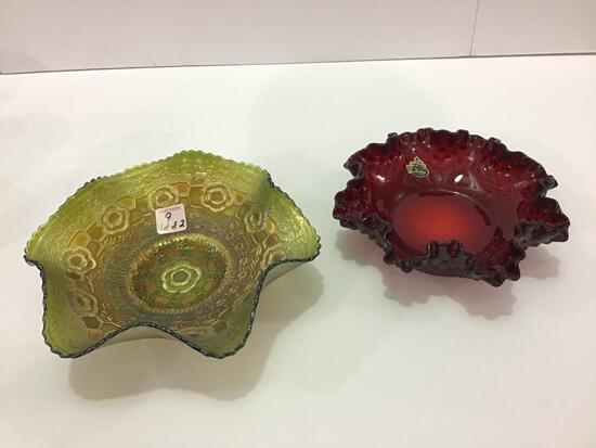 Lot of 2 Including Red Fenton Ruffled Edge