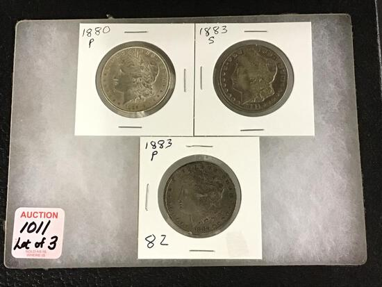 Lot of 3 Morgan Silver Dollars Including