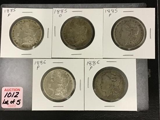 Lot of 5 Morgan SIlver Dollars Including