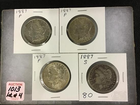 Lot of 4 Morgan Silver Dollars Including