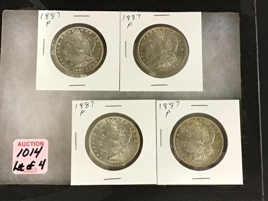 Lot of 4-1887P Morgan Silver Dollars
