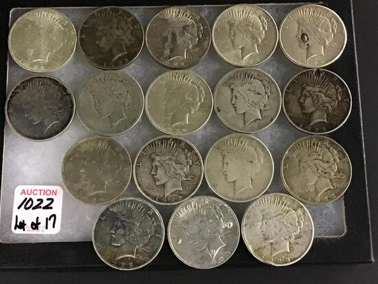 Collection of 17 Peace Silver Dollars