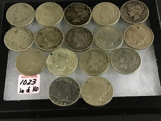 Collection of 16 Peace Silver Dollars Including