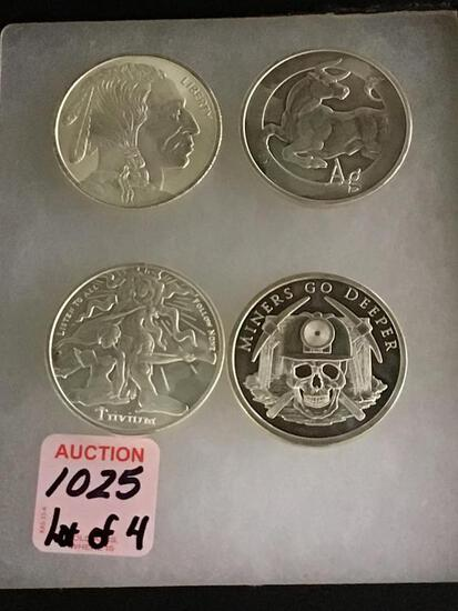 Lot of 4-.999 Fine Silver One Troy Ounce Silver