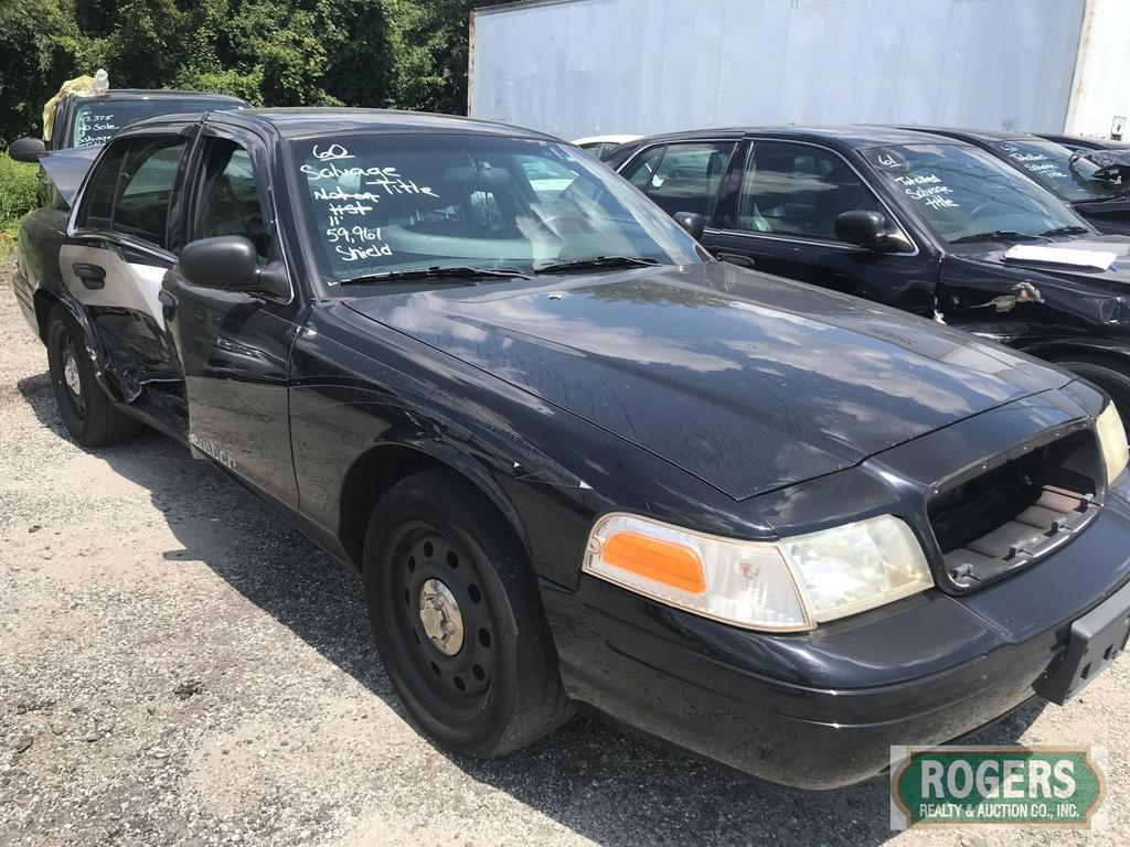 2011 Ford Crown Vic, 4.6, 59961 Miles, 2FABP7BV7BX183137-SALVAGE TITLE-NO KEYS