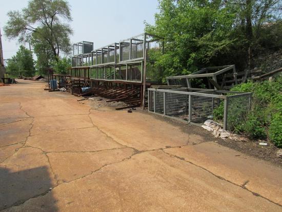 LOT: Assorted Size Dip Baskets, Fixtures & Stands (along railroad embankment)