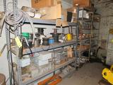 LOT: (3) Shelves & (2) File Cabinets with Assorted Wire, Electrical Boxes, Rolls Hose, Lights,