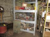 LOT: (1) Rack & (6) Shelves with Assorted Motors, Truck Parts, Machine Parts, Fittings, Bearings,