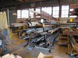 LOT: (1) Custom A-Frame & (1) Flat Stock Rack with Large Quantity Bar Stock, Pipe, Angle, Flat
