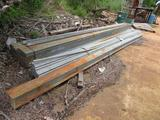 LOT: Assorted Steel including Square Tubing, I-Beams, Railroad Rails, Flat Stock, Pipe, Stands, etc.
