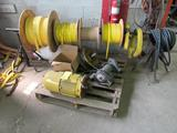 LOT: Assorted New Crane Festoon Cable, New Pendant Cable, Motor on Skid, and Rolls on Stand