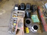LOT: Assorted Welding Wire, Welding Helmets, Face Mask, Vise Clamp, etc. on (1) Skid