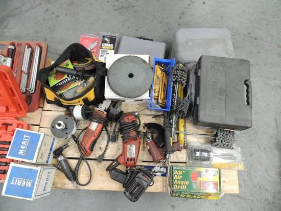 LOT: Milwaukee Angle Grinder, Drill 110 Volt, Die Grinder/ Angle Drill Pneumatic, Drill Bits, Hones,